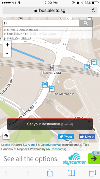 NextBus for SG: Search for Destination on Map